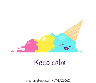 Keep calm. Cartoon character ice cream lettering illustration.