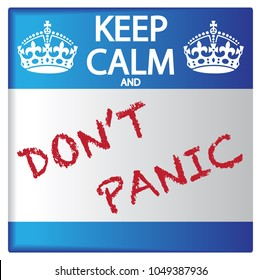 A keep calm and don't panic sticker isolated on a white background