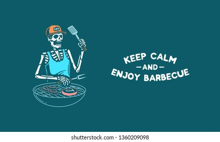KEEP CALM AND ENJOY BARBECUE SKELETON GRILL MASTER COLOR BACKGROUND