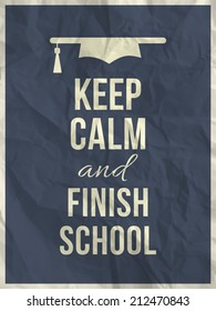 Keep calm and finnish school design typographic quote on dark blue crumpled paper texture with frame