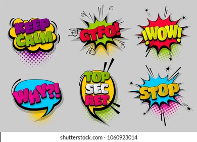 keep calm GTFO stop wow pop set hand drawn pictures effects template comics speech bubble halftone dot background pop art style. Comic dialog cloud. Idea conversation sketch explosion.