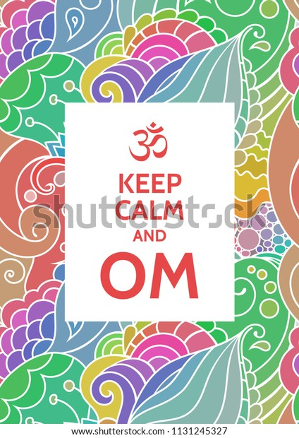 Keep Calm Om Meditation Spiritual Practice Stock Vector Royalty Free 1131245327