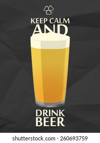 Keep calm with pint of beer, black crumpled paper background.