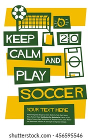 keep calm play soccer flat style stock vector royalty free