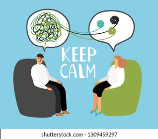 Keep calm, psychiatrist listening and counseling patient, healthcare emotional, therapy with doctor. Vector illustration