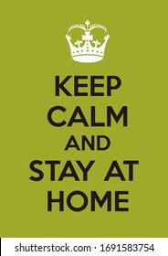 keep calm stay at home, in green color