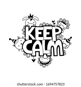 Keep calm words and doodles on a white background, vector illustration