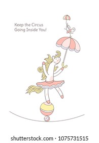 Keep the circus going inside you. White pony and mouse are playing circus. Little white horse girl and cute mouse wearing tutu are holding the umbrellas and balancing on the balls and the rope.