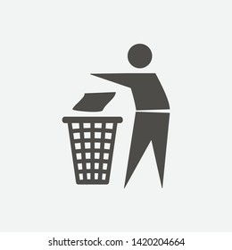 Keep clean icon. Do not litter sign. Silhouette of a man throwing garbage in a bin, No littering symbol. Public Information Icon. Vector illustration