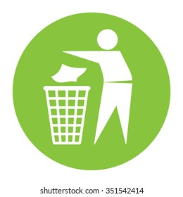 Keep clean icon. Do not litter sign. Silhouette of a man in the green circle, throwing garbage in a bin, isolated on white background. No littering symbol. Public Information Icon. Vector illustration