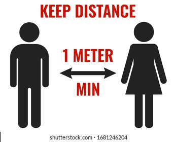 Keep distance 1 meter minimum. Warning sign to prevent the spread of diseases and epidemics. Vector icons of man and woman standing at a distance from each other. Warning sign for print and articles.
