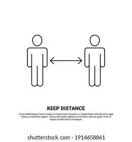 Keep distance icon, social distancing, coronavirus prevention
