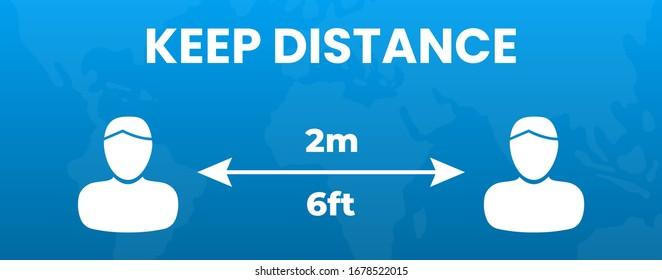 Keep Distance People 2 m or 6 feet Illustration