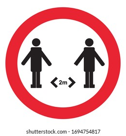 keep distance sign coronovirus epidemic protective equipment preventive measures steps to protect yourself keep the 2 meter distance vector illustration