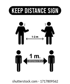 Keep distance sign. Coronovirus epidemic protective equipment. Social Distance 1 Meter Icon vector. Steps to protect yourself. Keep the 1 meter distance.