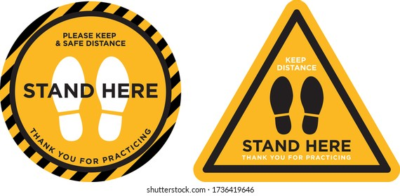 keep distance stand here signage icon