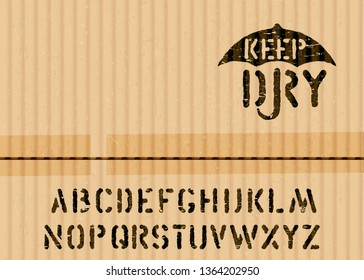 Keep Dry art pictogram on cargo textured cardboard fragile box background and font for logistics or packaging. Means: handle with care, no moisture. Grunge alphabet included. vector stamp and alphabet