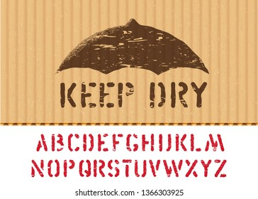 Keep Dry vector stamp on cargo textured cardboard fragile box background with font for logistics or packaging. Means: handle with care, no moisture. Grunge alphabet included