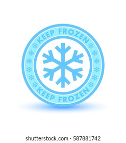 Keep frozen circular badge with snowflakes isolated on white background