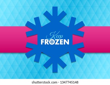 Keep frozen snowflake document template placed on blue background