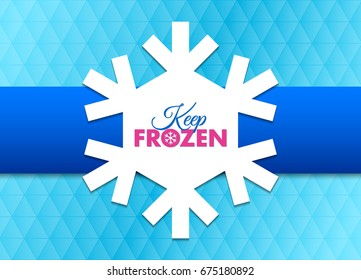 Keep frozen snowflake document template placed on cyan background