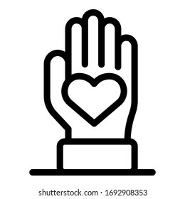 Keep hand love icon. Outline keep hand love vector icon for web design isolated on white background