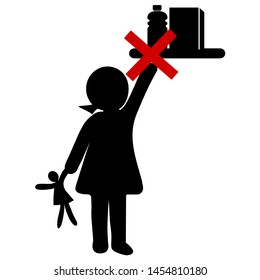 Keep Medicine Away From Children. No access for Kids, Be careful Icon. Simple Vector Illustration. Flat Design