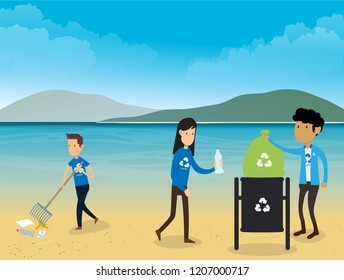 Keep Our Beaches and Coastlines Debris Free Doing Coastal Clean Up  vector illustration