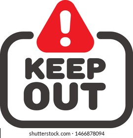Keep out sign, avoid warning vector icon with exclamation mark road sign