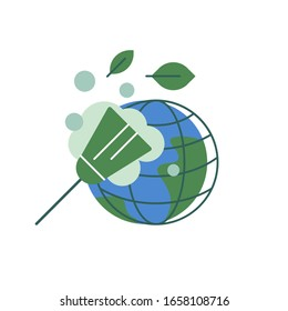 Keep planet clean! Cleaning on Earth. Dust removing. Ecological concept. Flat illustration. Vector icon.