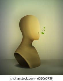 keep quiet no words concept, realistic vintage mannequin  with plant pierce from the inside,  life inside, what`s inside, vector