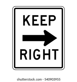 Keep right sign illustration of roadsign isolated on white background