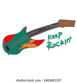 Keep rocking. hand drawn electric guitar. doodle of flaming guitar