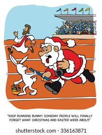 KEEP RUNNING BUNNY. SOMEDAY PEOPLE WILL FINALLY FORGET WHAT CHRISTMAS AND EASTER WERE ABOUT. Vector cartoon.
