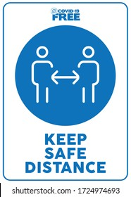 Keep safe distance. Covid-19 free zone poster. Signs for shops, stores, hairdressers, establishments, bars, restaurants ...