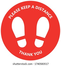 Keep safe social distance floor sticker with foot print. Isolated vector label of shoe sole. Virus warning sign for crowded place.