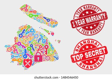 Keep Shanghai City map and watermarks. Red rounded Top Secret and 1 Year Warranty grunge watermarks. Colored Shanghai City map mosaic of different safety icons. Vector combination for safety purposes.