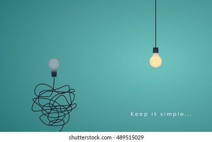 Keep it simple business concept with lightbulbs as symbol of idea, creativity. Eps10 vector illustration.