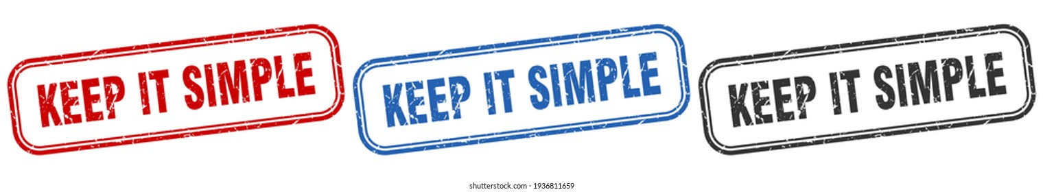 keep it simple square isolated sign set. keep it simple stamp