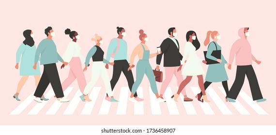 Gardez la distance sociale coronavirus (2019-nCoV), des gens en blanc masque médical marchant dans la rue. Concept de l'illustration du vecteur de quarantaine coronavirus.