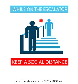 Keep a social distance while on the escalator. People are standing on the escalator steps. Poster. Icon. Vector flat illustration