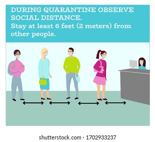 Keep social distance while standing in queue. Vector. When a virus is in the air quarantine is established. So we should keep up to some discipline. Can be used for shop materials, banners, posters.