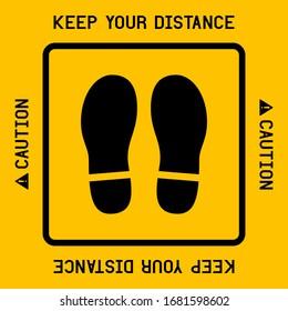 Keep your distance with footprint shoe shape avoid COVID-19 coronavirus.