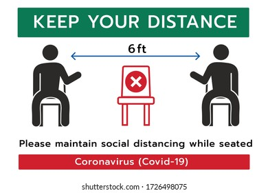 Keep your Distance sign,Social distancing,Please do not sit here to prevent from Coronavirus or Covid-19 pandemic,6 Feet social distancing for chair seat