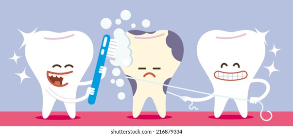 keep your teeth clean is important to prevent tooth decay; two teeth cleaned well help a tooth neglected in dental hygiene.