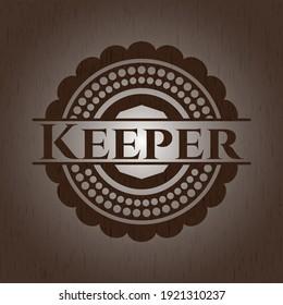 Keeper vintage wood emblem. Vector Illustration.