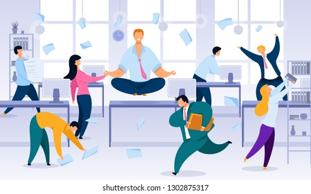 Keeping Calm and Balance in Office Work Chaos Flat Vector Concept. Smiling Office Worker, Company Employee Sitting in Lotus Pose, Meditating on Desk in Noisy Office, Stressed Colleagues Running around