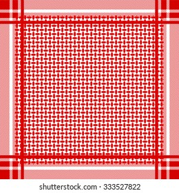 Keffiyeh vector seamless pattern. Traditional Middle Eastern man headdress. Shemagh military textile collection. Red and white. Backgrounds & textures shop.