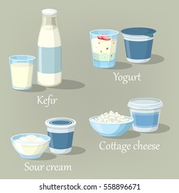 Kefir bottle and yogurt with fruits, bowl of farmer cottage cheese and sour cream. Glass of milk whipped product and healthy food, fresh beverage. Set of calcium meal, shop and diet theme