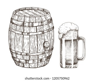 Keg of beer and glass of ale isolated on white graphic art, vector illustration of shiny glassware for alcohol drinking and special wooden container